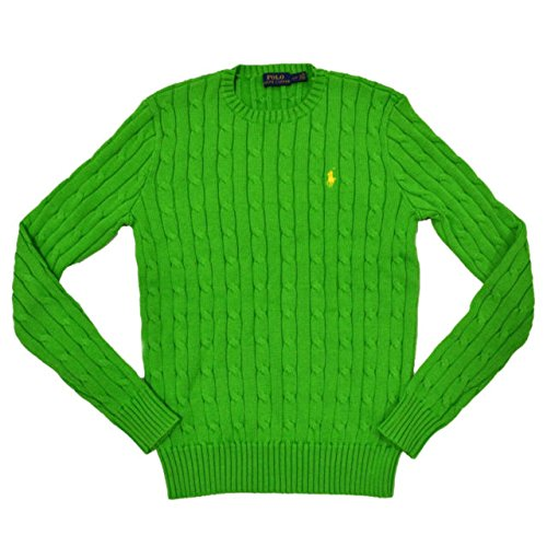 Polo Ralph Lauren Men's Pony Cable Knit Crewneck Sweater, Large, Lavender (Small, Amber Green) by Polo Ralph Lauren