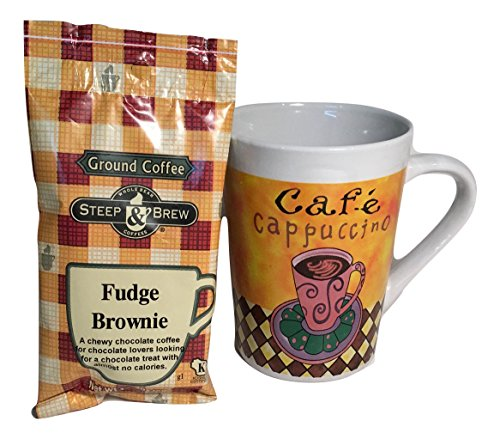 Coffee Gift Set Cappuccino Mug and Flavored Ground Coffee Yummy Fudge Brownie 2pc