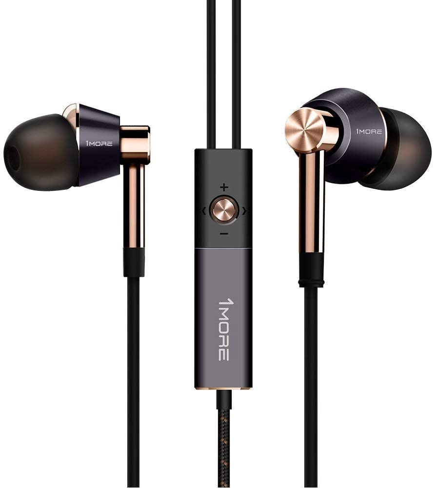 1MORE Triple driver In-Ear Headphones Hi-Res Audio Earphones with Microphone Gold only iOS compatible Refurbished