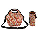 Amerzam Neoprene Lunch Bags/Lunch Boxes, Waterproof Outdoor Travel Picnic Lunch Box Bag Tote with Zipper and Adjustable Crossbody Strap (Lunch Bag+Water Bottle Tote)