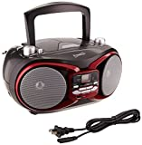 SUPERSONIC SC-504 RED PORTABLE AUDIO SYSTEM MP3/CD PLAYER /RADIO/USB/ AUX