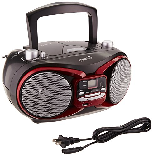 SUPERSONIC SC-504 RED PORTABLE AUDIO SYSTEM MP3/CD PLAYER /RADIO/USB/ AUX by Supersonic