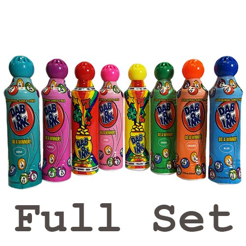 1.5oz Mini Tip Dab-O-Ink Bingo Dauber Full Set (Eight Colors) (Mini Bingo)