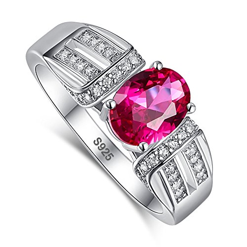 Merthus 1.25ct Created Ruby 925 Sterling Silver Promise Ring