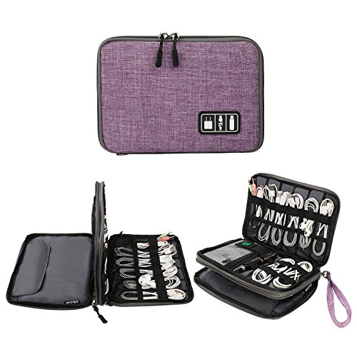 Electronics Organizer, Jelly Comb Electronic Accessories Cable Organizer Bag Waterproof Travel Cable Storage Bag for Charging Cable, Cellphone, Mini Tablet (Up to 7.9) and More(Purple and Gray)