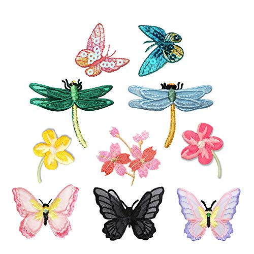 - 10 Pieces Flowers, 3D Small Lace Butterfly, Dragonfly, Pink Sequins Butterfly, Cherry Blossoms Patches Iron on, Sew on Dresses, Embroidery Applique Patches