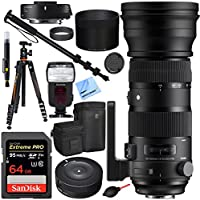 Sigma 150-600mm F5-6.3 Sports Lens and 1.4X Teleconverter Lens for Canon with USB Dock Plus 64GB Flash and Accessories Bundle