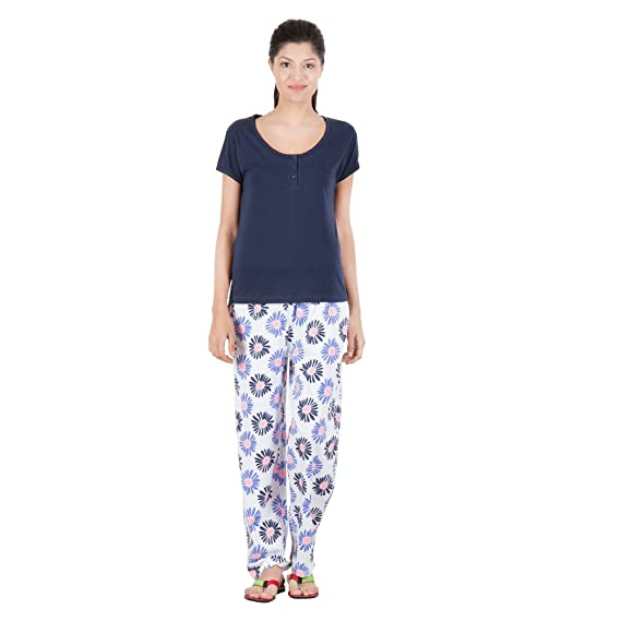 f7aed40cc34 Serenity Floral Pattern Cotton Night Suit for Women (Size  Large ...