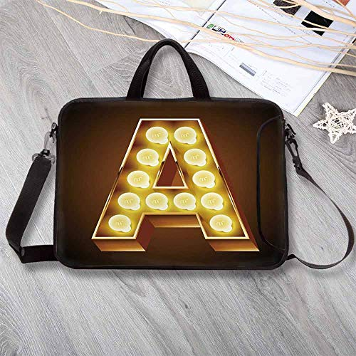 Letter A Lightweight Neoprene Laptop Bag,The First Letter of The Alphabet Symbol Old Cinema Inspired Design Laptop Bag for Laptop Tablet PC,8.7