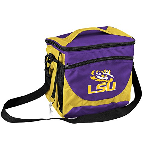 Logo Brands Collegiate 24-Can Cooler with Bottle Opener and Front Dry Storage Pocket LSU 24 Can Cooler - Logo Cooler