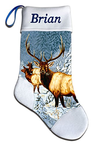 NEW Elk Wildlife Christmas Holiday Personalized Stocking Mark Mansanarez