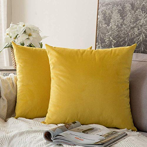 MIULEE Pack of 2 Velvet Pillow Covers Decorative Square Pillowcase Soft Solid Cushion Case for Sofa Bedroom Car 24 x 24 Inch 60 x 60 cm Lemon Yellow
