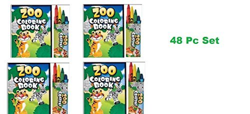 48 Pc ZOO ANIMAL Activity Set ~ 24 Zoo Animal Coloring Books ~ 24 Crayon Packs ~ Birthday Party Favor ~ Road Trip ~ Camps