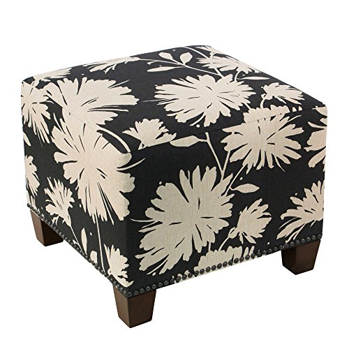 Skyline Furniture Medford Square Nail Button Ottoman in Black by Generic