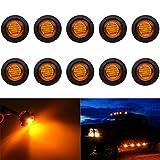 "KaTur 3/4"" Round LED Front Rear Side Marker Indicators Light Waterproof Bullet Clearance Marker Light 12V for Car Truck (Amber)"