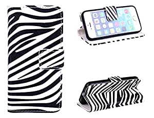 iphone 5/5S Case,Zebra Card Slot Holder Phone Case With Stand --Retail Package W Screen Protector