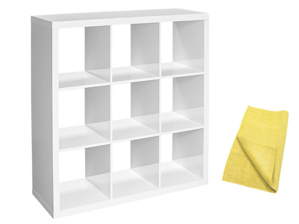 Better Homes and Gardens Versatile Design 9-Cube Versatile Organizer Storage Bookcase in White Lacquer with a Bonus Dust Cloth