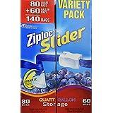Ziploc Asy Zipper Variety Pack Bags, 140 Count