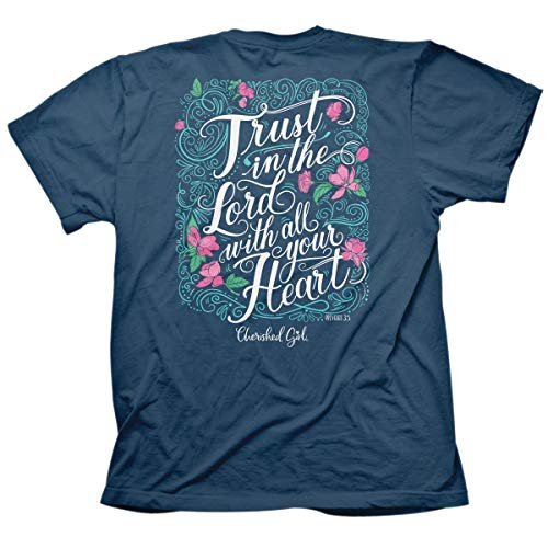 Cherished Girl Women Christian T-Shirt Trust in The Lord -Indigo -Small