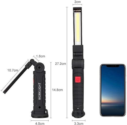 Notfall USB Wiederaufladbare Taschenlampe Werkstattlampe COB Inspektionsleuchten mit Magnet Basis f/ür Zuhause Camping Auto Reparatur,Werkstatt Coquimbo LED Arbeitsleuchte