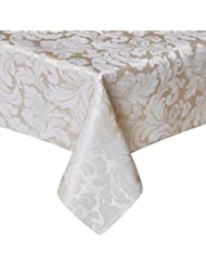 ColorBird Scroll Damask Jacquard Tablecloth Spillproof Waterproof Table Fabric Cover for Kitchen Dinning Tabletop Linen Decor (Rectangle/Oblong, 60 x 120 Inch, Beige)