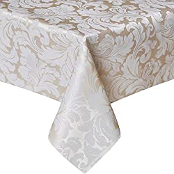 ColorBird Scroll Damask Jacquard Tablecloth Spillproof Waterproof Table Fabric Cover Kitchen Dinning Tabletop Linen Decor (Rectangle/Oblong, 60 x 120 Inch, Beige)