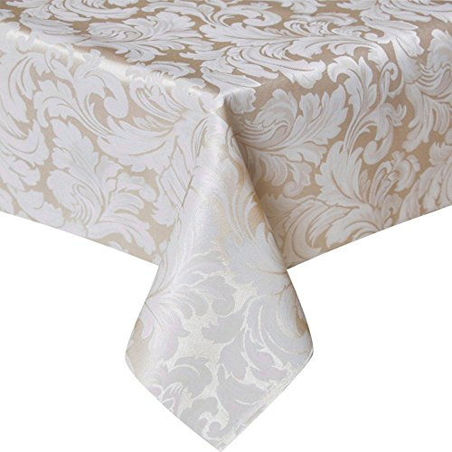 ColorBird Scroll Damask Jacquard Tablecloth Spillproof Waterproof Table Fabric Cover for Kitchen Dinning Tabletop Linen Decor (Rectangle/Oblong, 60 x 120 Inch, Beige) (Tablecloth Round 120 Damask)