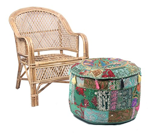 Jaipur Textile Hub JTH Decorative Indian Pouf Ottoman Round Patchwork Ethnic Floor Décor Ottoman (Size: 20X12X20 Inch) JTH-OP-FBA06 (Green) (Pouf Pattern For Knitted Ottoman)