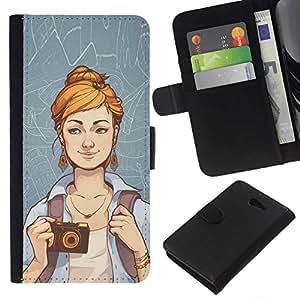 // PHONE CASE GIFT // Moda Estuche Funda de Cuero Billetera Tarjeta de crédito dinero bolsa Cubierta de proteccion Caso Sony Xperia M2 / Hipster Girl /