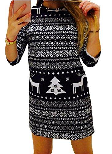 Les Femmes De Noël Coolred Manches Longues Robes De Confort Imprimé Floral Noir
