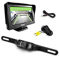 Pyle Backup Rear View Car Camera Monitor Screen System Kit - Parking & Reverse Safety Distance Scale Lines, Waterproof, Night Vision, 4.3 LCD Video Color Display for Automotive Vehicles - (PLCM46)