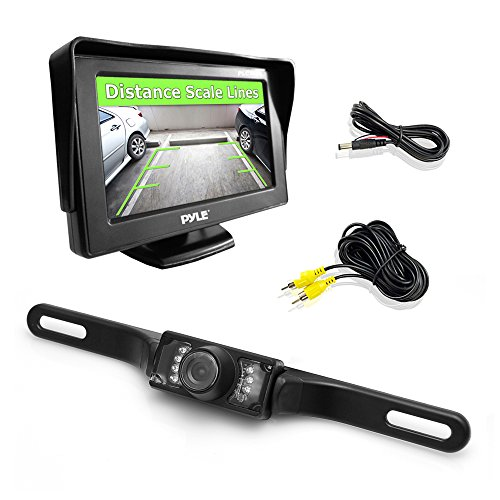 Amazon Lightning Deal 57% claimed: Pyle PLCM46 Car Van Jeep Bus Rearview Backup Camera & Monitor Parking/Reverse Kit Night Vision Waterproof Cam 4.3'' Display Distance Scale Lines Swivel Angle Adjustable
