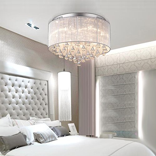 DINGGU™ Flush Mounted Luxury Contemporary Drum Ceiling Chandelier Light Fixtures with Cylinder Lamp Shade for Bedroom by DINGGU (Image #1)
