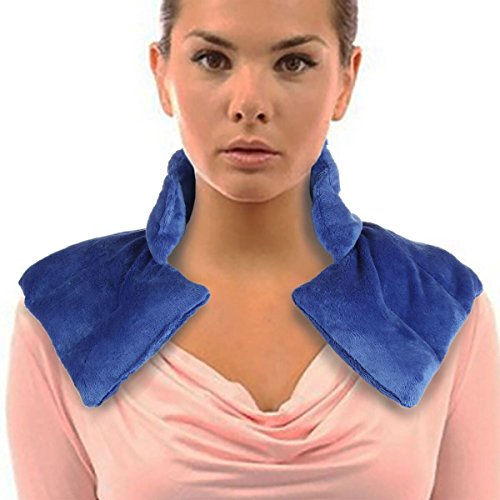 Lily's Home Herbal Aromatherapy Heated Neck and Shoulders Wrap | Tension Therapy, Neck and Shoulder Pain Relief | Moist Heat Therapy | Microwavable Heat Pad - Blue