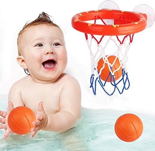 Addmos Baby Bath Toys, Fun Basketball Hoop & Balls Set Bathtub Toys for Boys Girls Kid & Toddler Bath Toys Gift Set 3…