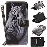 Misteem Case for Samsung Galaxy J7 2017 Animal, Cartoon Anime Comic Leather Case Wallet with Bookstyle Magnetic Closure Card Slot Holder Flip Cover Shockproof Slim Creative Pattern Shell Protective Cover for Samsung Galaxy J7 2017 [White Tiger]