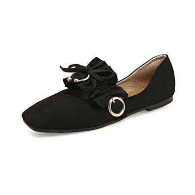 8f7b167ca1d GIY Women s Retro Suede Square Toe Dress Loafers Flat Ballet Slip-On  Classic Casual Bow
