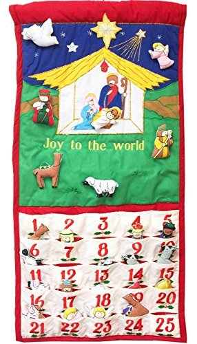 Pockets of Learning Joy to The World Traditional Nativity Advent Calendar, Holiday Décor, Crèche Manger Scene, Christmas Fabric Wall Hanging, Seasonal Cloth Countdown