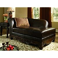Ashley North Shore 2260316 70' Traditional Left Arm Facing Leather Chaise with Detailed Carvings Fringed Pillow and Rolled Arm in Dark