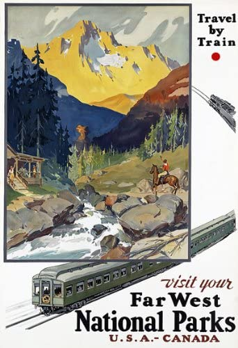 R16 Vintage National Parks USA Canada Railway Travel Poster Re-Print A4