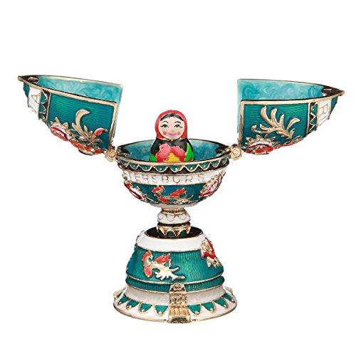 - danila-souvenirs Russian Faberge Style Egg/Trinket Jewel Box with Matryoshka 3.3'' Light Blue