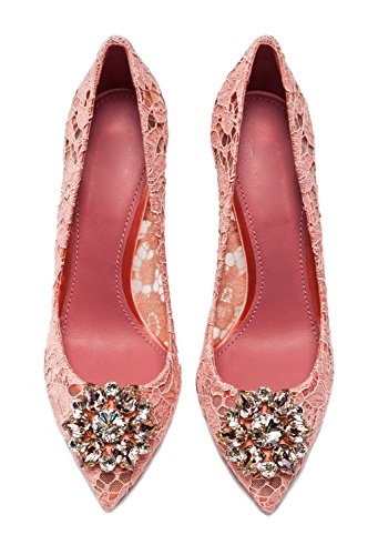 Heels Womens Slip Mid Lace Pointed On Toe Rhinestone Pink Stiletto Sexy Ubeauty Shoes Court 65mm HERwqdR