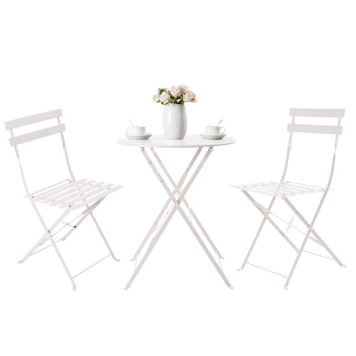 HollyHOME Juego de Muebles de balcón Plegables de Acero al Aire Libre, 3 Piezas de Mesa y sillas Plegables, Blanco