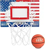 JaperBees Patriotic Over The Door & Wall Mount Basketball Hoop w/Thick Shatterproof Backboard
