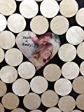 Alternative Wedding wood guest book Circle top drop shadow box, 2'' round wood charms