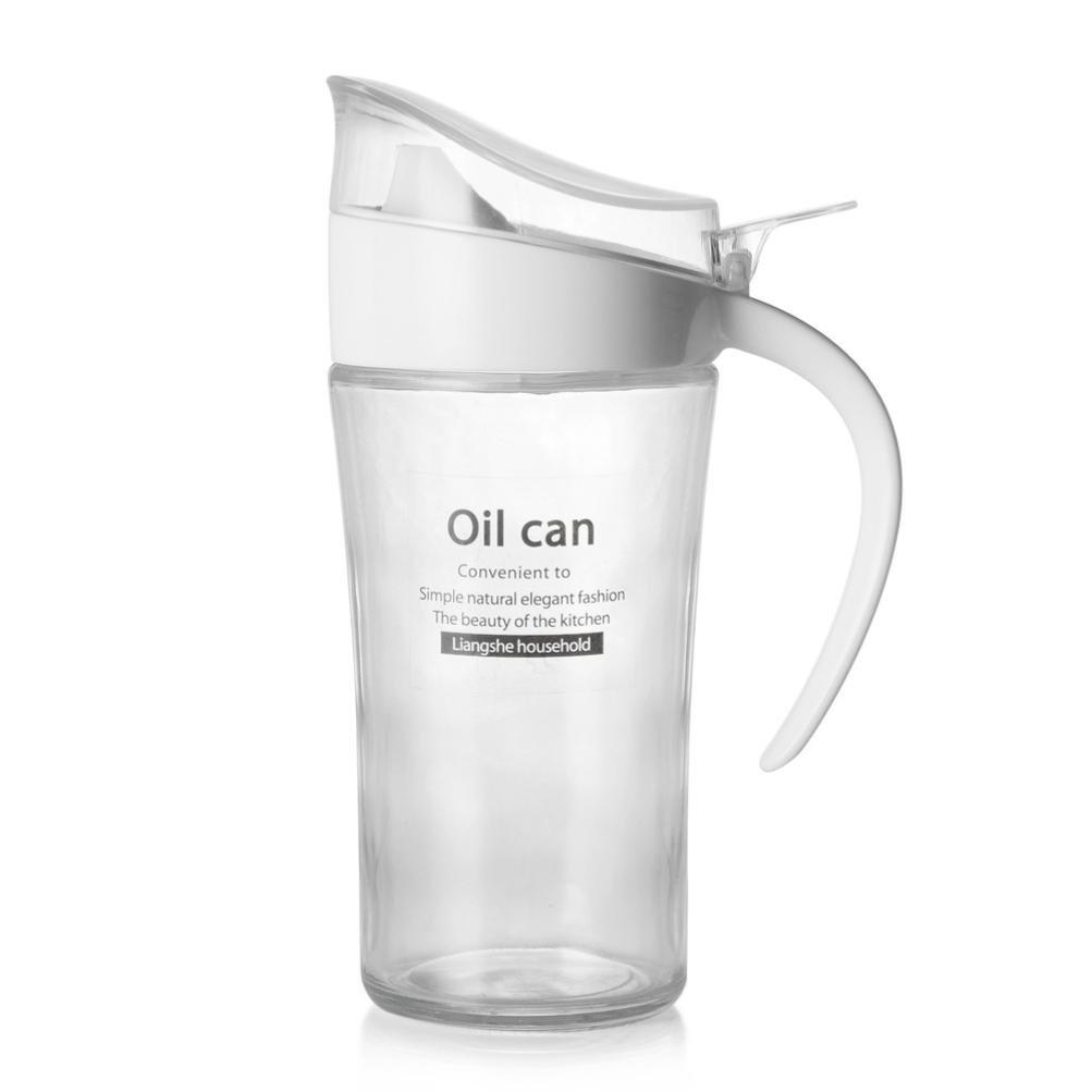 Oil Can, Sacow Acrylic Olive Oil Can Bottle Vinegar Dispenser Soy Storage Pot Home Kitchen Restaurant Oil Tools 620 ml (White)