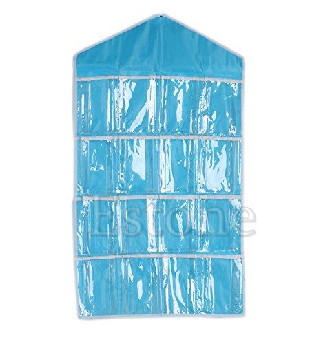 16 pockets clear over door hanging bag shoe rack hanger storage organizer nice blue buy. Black Bedroom Furniture Sets. Home Design Ideas