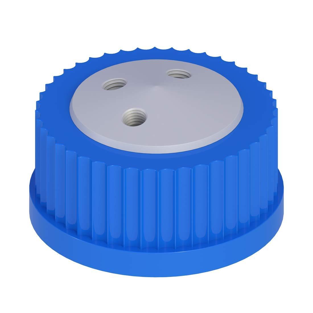 Vaplock S45X-3D Safety Cap, GL45, (3) 1/4-28 Ports, PTFE with PP Spin Collar