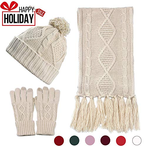 (Beanie Hat Glove Scarf Set Knit Soft Warm Touch Screen for Friend Lover Family)