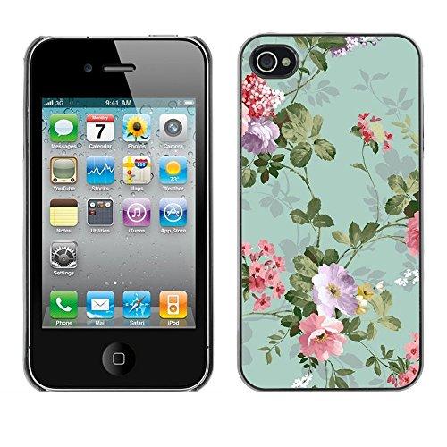 TopCaseStore / caoutchouc Hard Case Housse de protection la Peau - Flowers Vintage Old Teal - Apple iPhone 4 / 4S